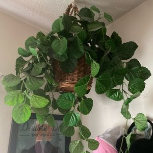Other - Faux Foliage Hanging Wicker Basket